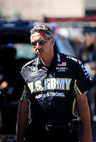 Jul. 17, 2010; Sonoma, CA, USA; NHRA top fuel dragster crew chief Mike Green during qualifying for the Fram Autolite Nationals at Infineon Raceway. Mandatory Credit: Mark J. Rebilas-