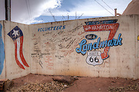 The Meteor City Trading Post was built in 1938 and boasts the Worlds Longest Map of Route 66 at over a 100 feet long.  The map was originally painted by Bob Waldmire and restored in 2003. The Dome shaped building was built 1979 and burned in 1990, and rebuilt.