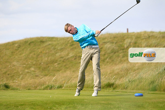 Mathew Kane (Whitehead) on the 14th tee during Round 2 of the South of Ireland Amateur Open Championship at LaHinch Golf Club on Thursday 23rd July 2015.<br /> Picture:  Golffile | Thos Caffrey