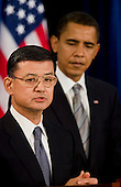 Chicago, IL - December 7, 2008 -- Retired Army General Eric K. Shinseki speaks to the media at a news conference in Chicago after United States President-elect Barack Obama announced Shinseki as his veteran's affairs secretary nominee..Credit: Ralf-Finn Hestoft - Pool via CNP