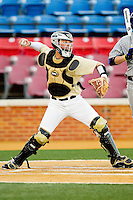 Wake Forest Demon Deacons catcher Charlie Morgan #26 makes a throw to second base against the UNC-Asheville Bulldogs at Wake Forest Baseball Park on February 28, 2012 in Winston-Salem, North Carolina.  The Demon Deacons defeated the Bulldogs 9-8.  (Brian Westerholt/Four Seam Images)