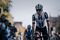 Warren Barguil (FRA/Sunweb) on his way to sign-on<br /> <br /> Il Lombardia 2017<br /> Bergamo to Como (ITA) 247km