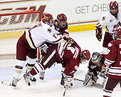 Pat Mullane (BC - 11), Michael Marcou (UMass - 22), Kevin Czepiel (UMass - 3), Paul Dainton (UMass - 31), Steven Whitney (BC - 21) - The Boston College Eagles defeated the University of Massachusetts-Amherst Minutemen 5-2 on Saturday, March 13, 2010, at Conte Forum in Chestnut Hill, Massachusetts, to sweep their Hockey East Quarterfinals matchup.
