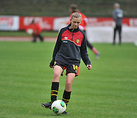 20131013 - BAMBERG , GERMANY :  Belgian Yuna Appermont pictured during the female soccer match between Switzerland Women U17 and Belgium U17 , in the second game of the Elite round in group 6 in the UEFA European Women's Under 17 competition 2013 in the Fuchs Park Stadion - Bamberg  Sunday 13 October 2013. PHOTO DAVID CATRY