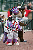 June 17th 2008:  Mascots from the Lansing Lugnuts and West Michigan Whitecaps during the Midwest League All-Star Game at Dow Diamond in Midland, MI.  Photo by:  Mike Janes/Four Seam Images