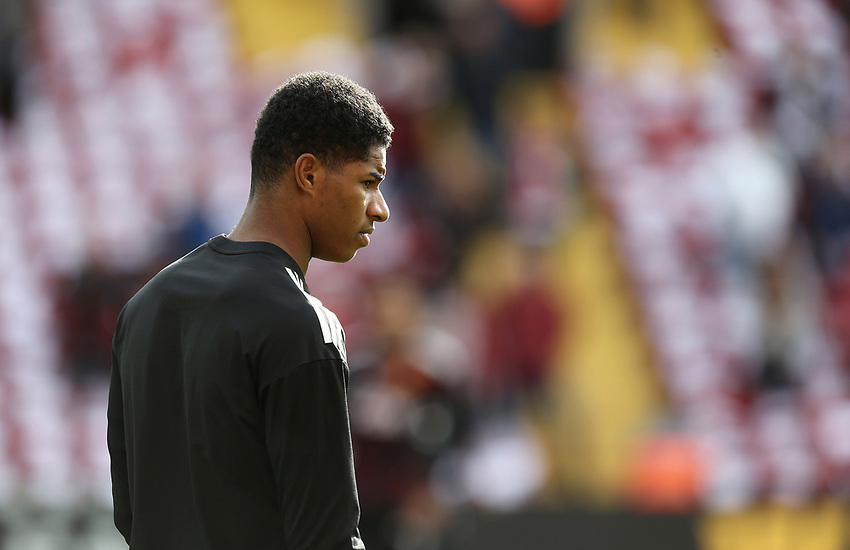 Manchester United's Marcus Rashford during the pre-match warm-up <br /> <br /> Photographer Rich Linley/CameraSport<br /> <br /> The Premier League - Liverpool v Manchester United - Saturday 14th October 2017 - Anfield - Liverpool<br /> <br /> World Copyright &copy; 2017 CameraSport. All rights reserved. 43 Linden Ave. Countesthorpe. Leicester. England. LE8 5PG - Tel: +44 (0) 116 277 4147 - admin@camerasport.com - www.camerasport.com