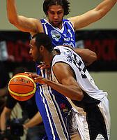 Michael Harrison pushes past Kevin Owens during the NBL Semifinal basketball match between the Wellington Saints and Nelson Giants at TSB Bank Arena, Wellington, New Zealand on Thursday, 12 June 2008. Photo: Dave Lintott / lintottphoto.co.nz