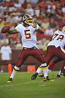 13 August 2010:  Redskins QB Donovan McNabb (5) throws.  McNabb completed 5 of 8 for 58 yards and 1 TD.  The Washington Redskins defeated the Buffalo Bills 42-17 during their preseason game at FedEx Field in Landover, MD.