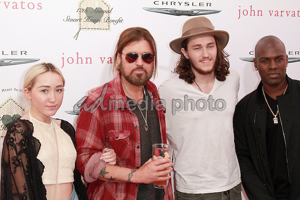 26 April 2015 - Beverly Hills, California - Noah Cyrus, singer Billy Ray Cyrus, actor Braison Cyrus and music manager Corey Gamble. The Chrysler John Varvatos 12th Annual Stuart House Benefit held at John Varvatos Boutique on Melrose Avenue. Photo Credit: Theresa Bouche/AdMedia