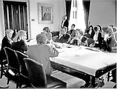 Washington, DC - (FILE) -- First lady Hillary Rodham Clinton meets with women Senators at the Capitol to discuss the Administration's health care reform plan on Thursday, March 11, 1993.  The first lady has led a task force that is working on a comprehensive plan to ensure affordable health security to all Americans.  At far left is United States Senator Nancy Landon Kassebaum (Republican of Kansas) and the first lady.  At middle right is United States Senator Patty Murray (Democrat of Washington) and at far right is United States Senator Dianne Feinstein (Democrat of California)..Credit: White House via CNP