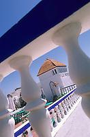 Afrique/Maghreb/Maroc/Essaouira : Détail de la terrasse de la villa Maroc 10 rue Abdellah-Ben-Yacine