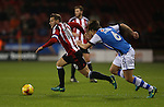 Billy Sharp of Sheffield Utd races clear of George Dobson of Walsall during the English League One match at Bramall Lane Stadium, Sheffield. Picture date: November 29th, 2016. Pic Simon Bellis/Sportimage