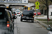Chicago, IL - November 22, 2008 -- United States President-Elect Barack Obama's motorcade heads to his home in the Hyde Park neighborhood of Chicago after his morning workout nearby, , Saturday, November 22, 2008..Credit: Anne Ryan - Pool via CNP