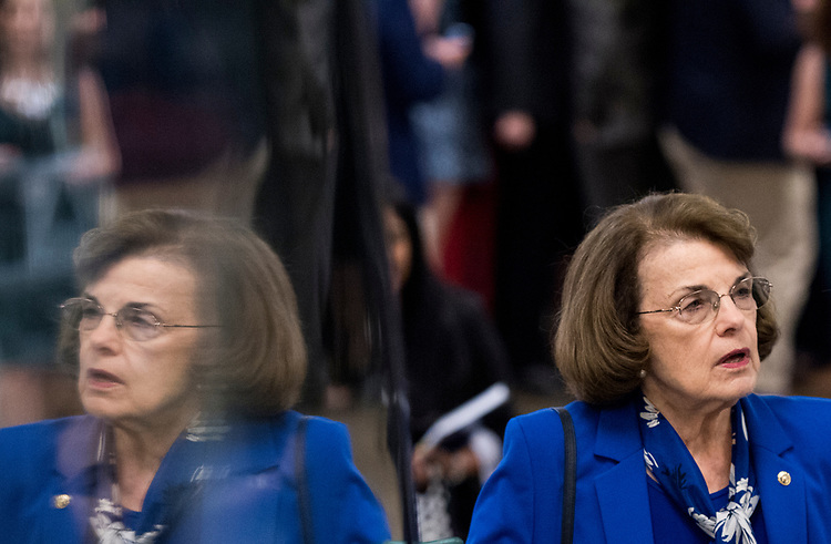 UNITED STATES - JULY 10: Sen. Dianne Feinstein, D-Calif., arrives for the Senate Democrats' policy lunch in the Capitol on Tuesday, July 10, 2018, the day after President Donald Trump nominated Brett Kavanaugh to the Supreme Court. (Photo By Bill Clark/CQ Roll Call)