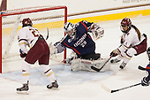 Andie Anastos (BC - 23), Elaine Chuli (UConn - 29), Kristyn Capizzano (BC - 7) - The Boston College Eagles defeated the visiting UConn Huskies 4-0 on Friday, October 30, 2015, at Kelley Rink in Conte Forum in Chestnut Hill, Massachusetts.
