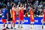 UCAM Murcia's players saying thanks to the supporters during the third match of the Liga Endesa Playoff at Barclaycard Center in Madrid. May 31. 2016. (ALTERPHOTOS/Borja B.Hojas)