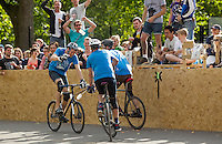 17 AUG 2014 - LONDON, GBR - Sentinels players celebrate a goal during their game against Jackie Chan is Dead at the 2014 London Open Bike Polo tournament in Highbury Fields in London, Great Britain (PHOTO COPYRIGHT © 2014 NIGEL FARROW, ALL RIGHTS RESERVED)