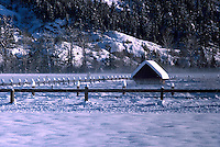 Snow Covered Farm Building in Pemberton Valley near Whistler, BC, British Columbia, Canada - Southwestern BC Region, Winter