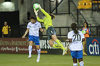 Alyssa Neaher (1) of the Boston Breakers makes a save. The Boston Breakers defeated the Atlanta Beat 3-1 during a Women's Professional Soccer (WPS) match at KSU Atlanta Beat Stadium Kennesaw, GA, on August 28, 2010.