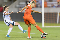 Houston, TX - Saturday July 08, 2017: Rachel Daly takes a shot at the Portland goal during a regular season National Women's Soccer League (NWSL) match between the Houston Dash and the Portland Thorns FC at BBVA Compass Stadium.
