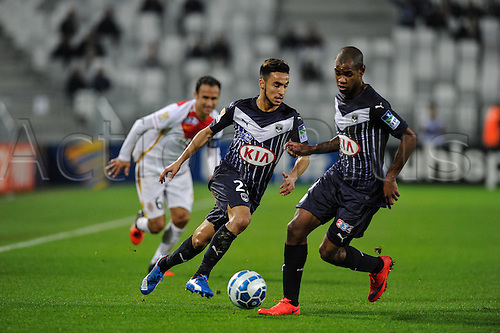 16.12.2015. Bordeaux, France. French League cup football from the Stade Chaban-Delmas. Bordeaux versus Monaco.  Adam Ounas (gir)