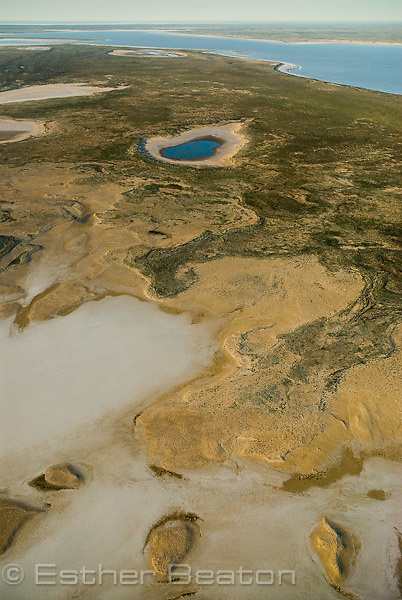 Salt pans and rare flooding of North Lake Eyre, Lake Eyre National Park. South Australia
