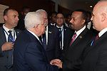 Palestinian president Mahmoud Abbas (2nd-L) meets with Ethiopian Prime Minister Abiy Ahmed (2nd-R) in the Ethiopian capital Addis Ababa on the sidelines of the African Union summit on February 10, 2019. Photo by Thaer Ganaim