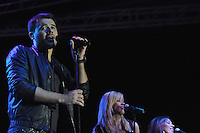 Azerbaijani pop singer and son-in-law of Azerbaijan's President Emin Agalarov performs at the Eurovision Fan Club concert on the Bulvar seaside promenade in Baku, Azerbaijan on April 29, 2012.  Emin will be performing during the Eurovision Song Contest 2012 in Baku.