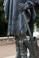 The statue of guitarist Stevie Ray Vaughan is a landmark along Lady Bird Lake in Austin Texas.