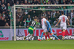 10.02.2019, Weser Stadion, Bremen, GER, 1.FBL, Werder Bremen vs FC Augsburg, <br /> <br /> DFL REGULATIONS PROHIBIT ANY USE OF PHOTOGRAPHS AS IMAGE SEQUENCES AND/OR QUASI-VIDEO.<br /> <br />  im Bild<br /> <br /> 1:0 Milot Rashica (Werder Bremen #11) gegen Gregor Kobel (FC Augsburg #40)<br /> Konstantinos Stafylidis (FC Augsburg #03)<br /> Rani Khedira (FC Augsburg #08)<br /> Foto © nordphoto / Kokenge