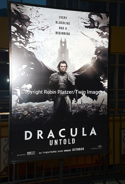 The poster at the Special Screening of &quot;Dracula Untold&quot;  on October 6, 2014 at The ABC Loews 34th Street Imax Theatre In New York City. <br /> <br /> photo by Robin Platzer/Twin Images<br />  <br /> phone number 212-935-0770