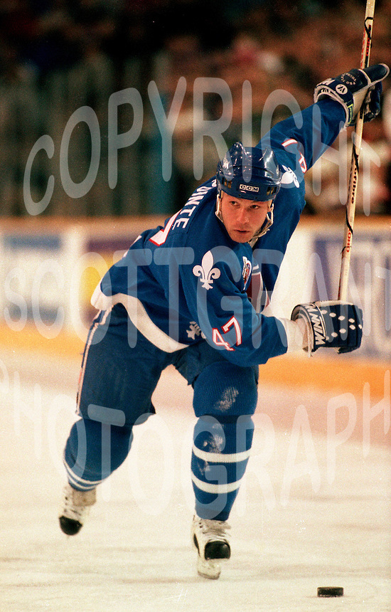 Claude Lapointe Quebec Nordiques 1993. Photo F. Scott Grant