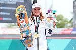 Sakura Yosozumi (JPN), <br /> AUGUST 29, 2018 - Skateboarding : <br /> Women's Park  Medal ceremony<br /> at Jakabaring Sport Center Skatepark <br /> during the 2018 Jakarta Palembang Asian Games <br /> in Palembang, Indonesia. <br /> (Photo by Yohei Osada/AFLO SPORT)