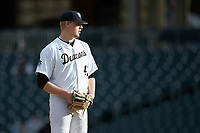 Wake Forest Demon Deacons relief pitcher Reese Robinson (45) looks to his catcher for the sign against the Furman Paladins at BB&T BallPark on March 2, 2019 in Charlotte, North Carolina. The Demon Deacons defeated the Paladins 13-7. (Brian Westerholt/Four Seam Images)