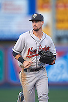 New Britain Rock Cats outfielder David Dahl (1) jogs to the dugout during a game against the Reading Fightin Phils on August 7, 2015 at FirstEnergy Stadium in Reading, Pennsylvania.  Reading defeated New Britain 4-3 in ten innings.  (Mike Janes/Four Seam Images)