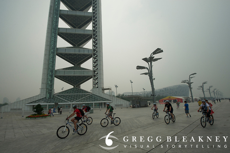 Olympic Park KM 1 straightaway - Journalists and delegates pre-ride the 2011 Tour of Beijing Scouting Photos