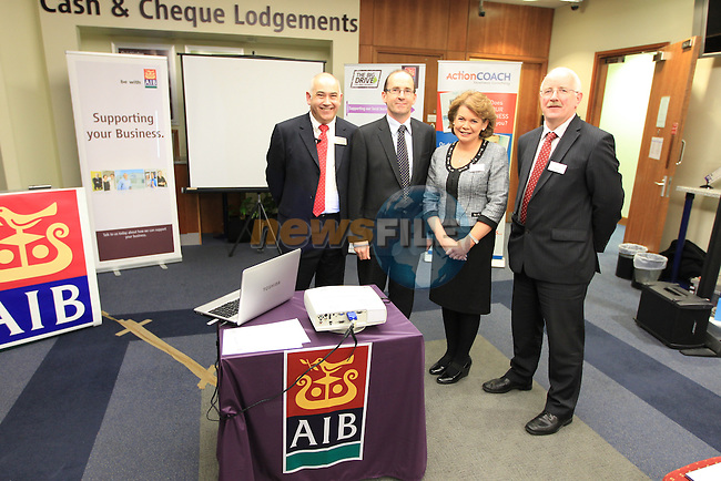 Dave forester actioncoach Brendan O'brien Aib regional director ne.Catherine rice branch manager nick heeney head business banking Aib Drogheda .at the AIB business seminar held in the AIB branch in Dyer Street..Picture Fran Caffrey www.newsfile.ie..