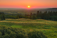 Sunrise on prairie from Reesor Viewpoint on Reesor Lake Road. Dark-Sky Preserve<br /> Cypress Hills Provincial Park<br /> Alberta<br /> Canada