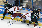Chris VandeVelde (University of North Dakota - Moorhead, MN), Dan Bertram (Boston College - Calgary, AB), Brett Motherwell (Boston College - St. Charles, IL), Matt Watkins (University of North Dakota - Aylesbury, SK) - The Boston College Eagles defeated the University of North Dakota Fighting Sioux 6-4 in their 2007 Frozen Four semi-final on Thursday, April 5, 2007, at the Scottrade Center in St. Louis, Missouri.