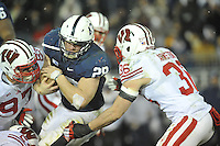 24 November 2012:  Penn State RB Zach Zwinak (28) fights through Wisconsin's Brendan Kelly (97) andEthan Armstrong (36). The Penn State Nittany Lions defeated the Wisconsin Badgers 24-21 in OT overtime at Beaver Stadium in State College, PA.