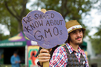 Activists gather at Grand Army Plaza in Brooklyn in New York on Saturday, October 1, 2011 to begin a march to Washington DC to demand GMO labeling of food. (© Frances M. Roberts)