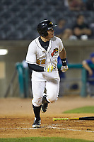 Deon Stafford (22) of the West Virginia Power hustles down the first base line against the Lexington Legends at Appalachian Power Park on June 7, 2018 in Charleston, West Virginia. The Power defeated the Legends 5-1. (Brian Westerholt/Four Seam Images)