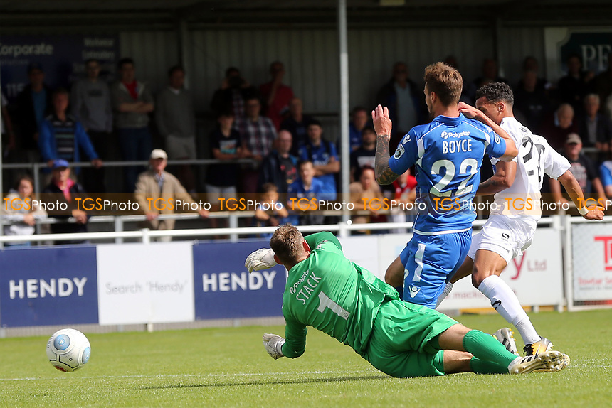 Corey Whitely of Dagenham scores the opening goal during Eastleigh vs Dagenham & Redbridge, Vanarama National League Football at the Silverlake Stadium on 12th August 2017