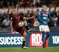 Calcio, Serie A: Roma, stadio Olimpico, 14 ottobre 2017.<br /> Roma's Radja Nainggolan (l) in action with Napoli's Jos&eacute; Maria Callejon during the Italian Serie A football match between Roma and Napoli at Rome's Olympic stadium, October14, 2017.<br /> UPDATE IMAGES PRESS/Isabella Bonotto