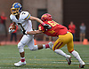 Jordan Delucia #7 of Kellenberg rushes for a gain during an NSCHSAA varsity football game against host Chaminade High School in Mineola on Sunday, Oct. 14, 2018. Kellenberg won by a score of 42-14.
