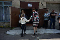 Donetsk's citizens vote in a school used as a polling station. Donetsk region and Lugansk vote for separation of the Eastern Ukraine. Donetsk, Ukraine.