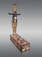 Ancient Egyptian wooden statue of Ptah Sokar Osiris, Ptolemaic Period(332-30 BC), Asyut. Egyptian Museum, Turin. Cat 9481. Grey background.