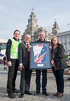 Picture by Allan McKenzie/SWpix.com - 24/09/2017 - Cycling - HSBC UK City Ride Liverpool - Albert Dock, Liverpool, England - Rob Pickering presents the Lord Mayor of Liverpool Malcolm Kennedy and Assistant Mayor of Liverpool Wendy Simon along with Cllr. Tim Beaumont with the Partnership Jersey.