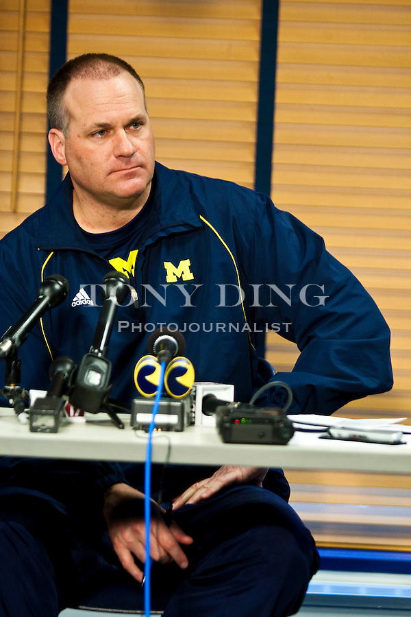 Michigan head coach Rich Rodriguez fields question from the media in a press conference on the first day of spring football practices, Tuesday, March 16, 2010, in Ann Arbor, Mich. The NCAA has found that Michigan's storied football program was out of compliance with practice time rules under Rodriguez. Michigan will appear at an NCAA hearing on infractions in August. (AP Photo/Tony Ding)