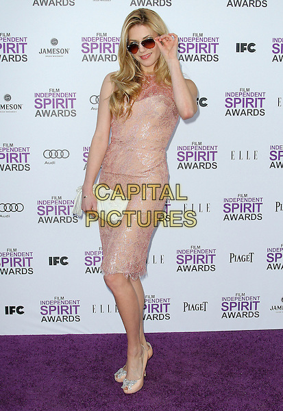 Katheryn Winnick.2012 Film Independent Spirit Awards held at Santa Monica Beach, Santa Monica, California, USA, .25th February 2012..indie indies full length beige peep toe shoes sunglasses clutch bag white  dress lace  .CAP/ADM/KB.©Kevan Brooks/AdMedia/Capital Pictures.